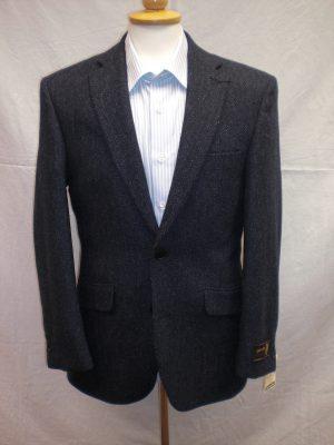 Scott  Navy  Wool Jacket in Herringbone Design