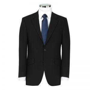 Wool Mixture Suit Jacket Plain Black