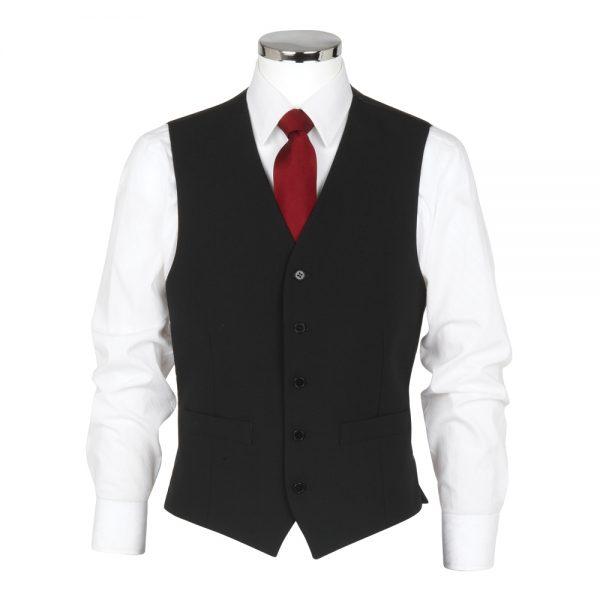 Wool Mixture Suit Waistcoat Plain Black
