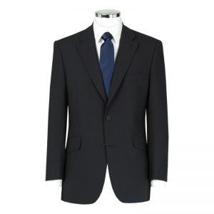 Wool Mixture Suit Jacket Plain Navy