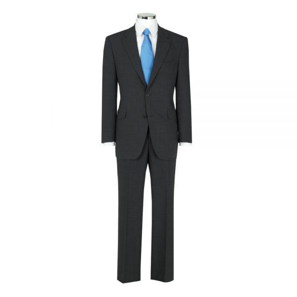 Wool Mixture Suit Jacket Plain Charcoal