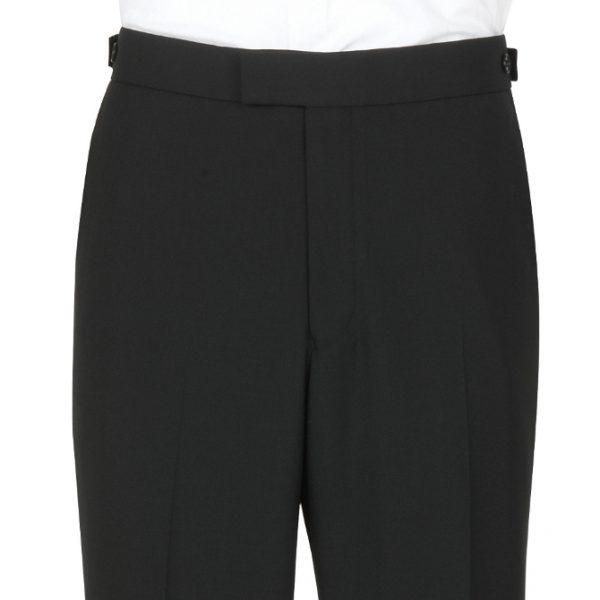 Scott Wool Mix Plain Front Evening Suit Trouser Black