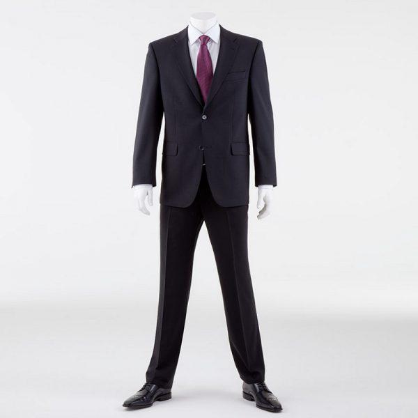Black Quality Plain Wool Mixture Suit Trouser Plain Front