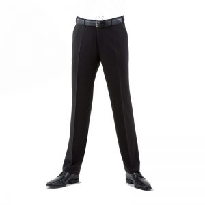 Black Quality Plain Wool Mixture Suit Trouser Plain Front