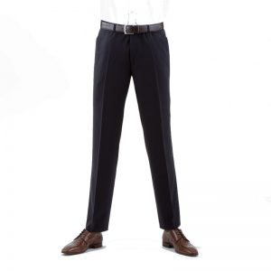 Navy Quality Plain Wool Mixture Suit Trouser Plain Front
