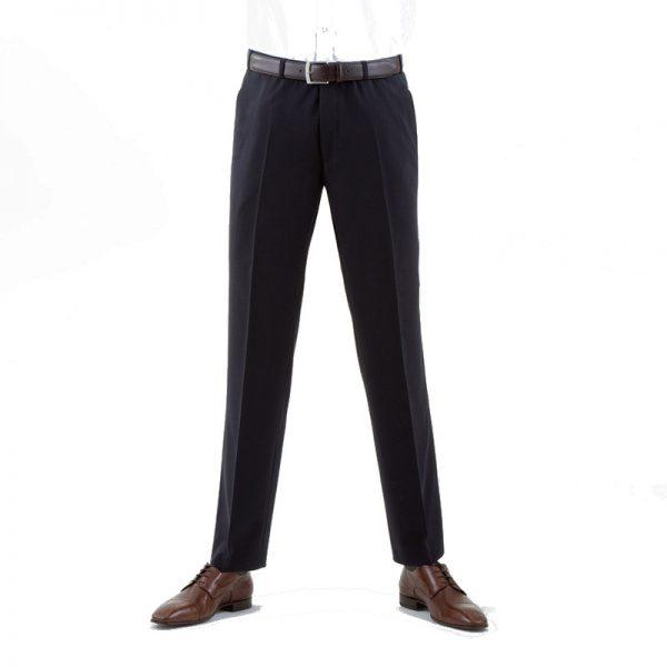 Navy Quality Plain Wool Mixture Suit Trouser Plain Front