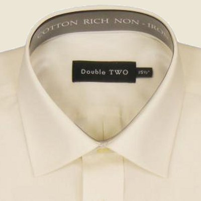 Cotton Rich Classic Shirt Cream Short Sleeve