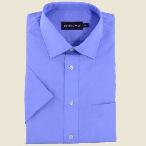 Cotton Rich Classic Shirt Royal Short Sleeve