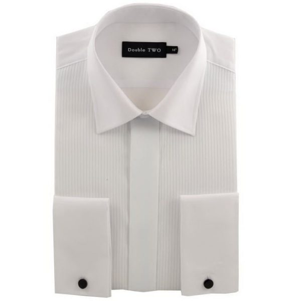 Double Two Ribbed Cotton Rich Regular Collar Dress Shirt