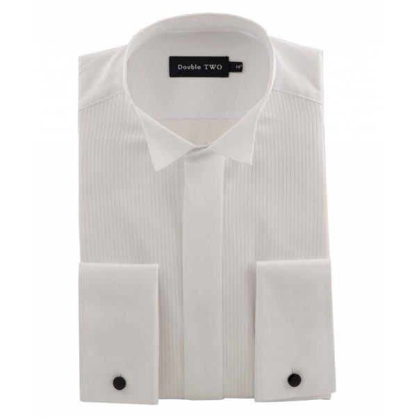 Double Two Cotton Rich Ribbed Wing Collar Dress Shirt